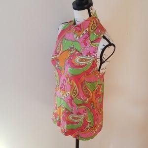 Kenar Paisley Silk racerback sleeveless knit top